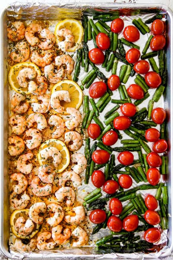 Sheet Pan Shrimp Scampi With Asparagus And Tomatoes