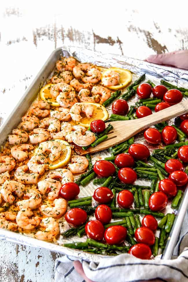 shrimp scampi with tomatoes and asparagus