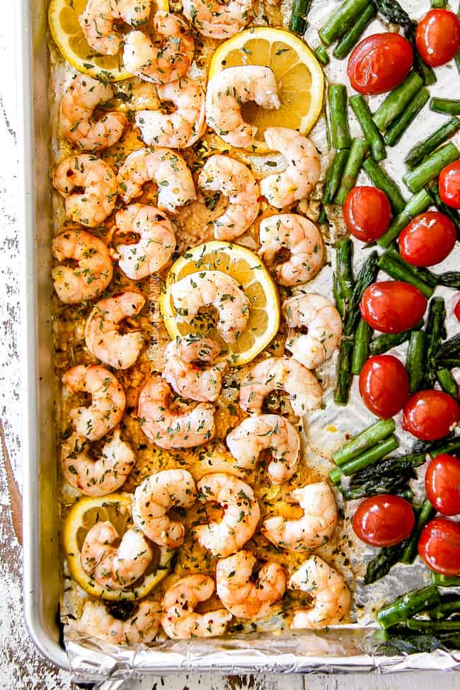 top view of shrimp scampi without wine on a baking sheet