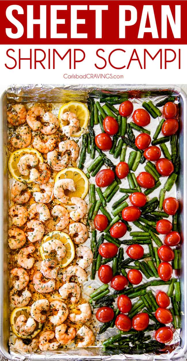 top view of shrimp scampi on a baking sheet