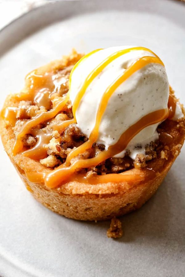 up close of kraft caramel apple pie with vanilla ice cream
