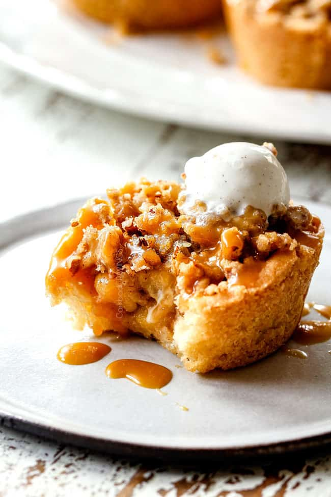 kraft caramel apple pie with a bite taken out of it
