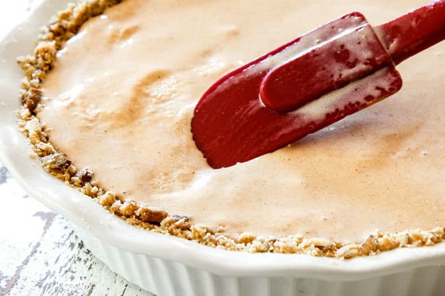 showing how to make ice cream pie by smoothing filling into pie crust