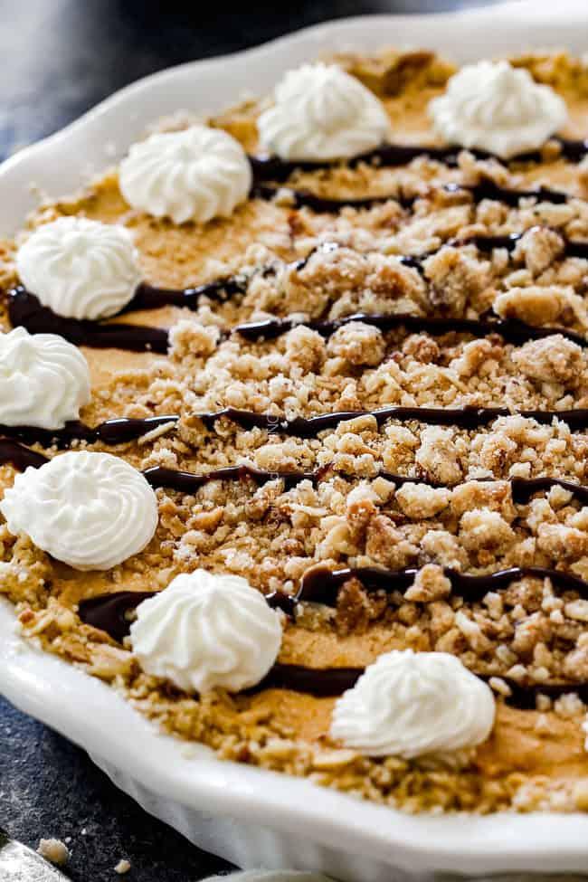 side view of ice cream pie with vanilla ice cream, pure pumpkin, brown sugar, cinnamon