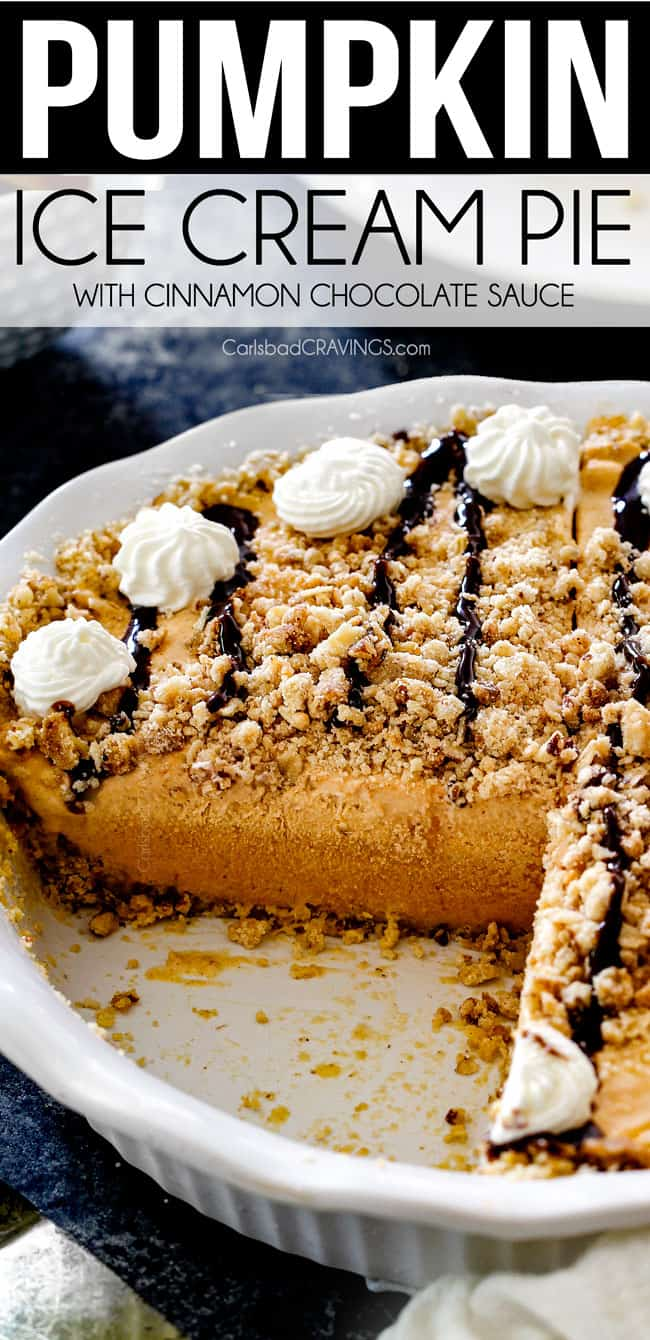 side view of ice cream pie with ice cream, pure pumpkin, cinnamon and chocolate drizzle