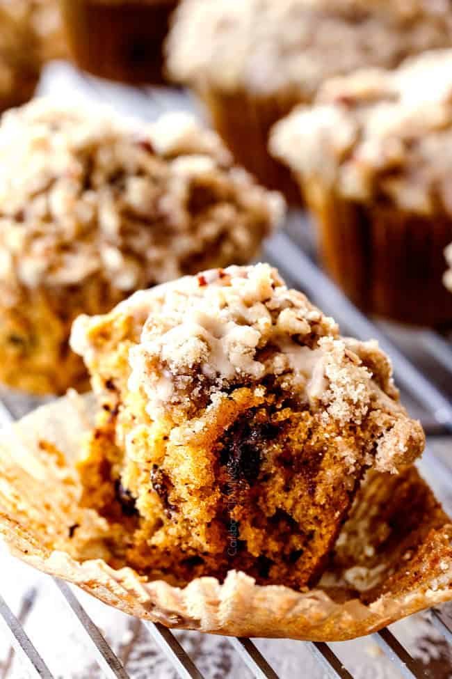 easy pumpkin muffin with bites taken out of it