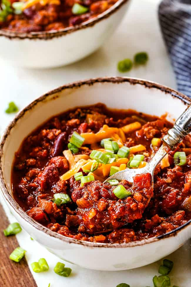 a bowl full of healthy turkey chili recipe