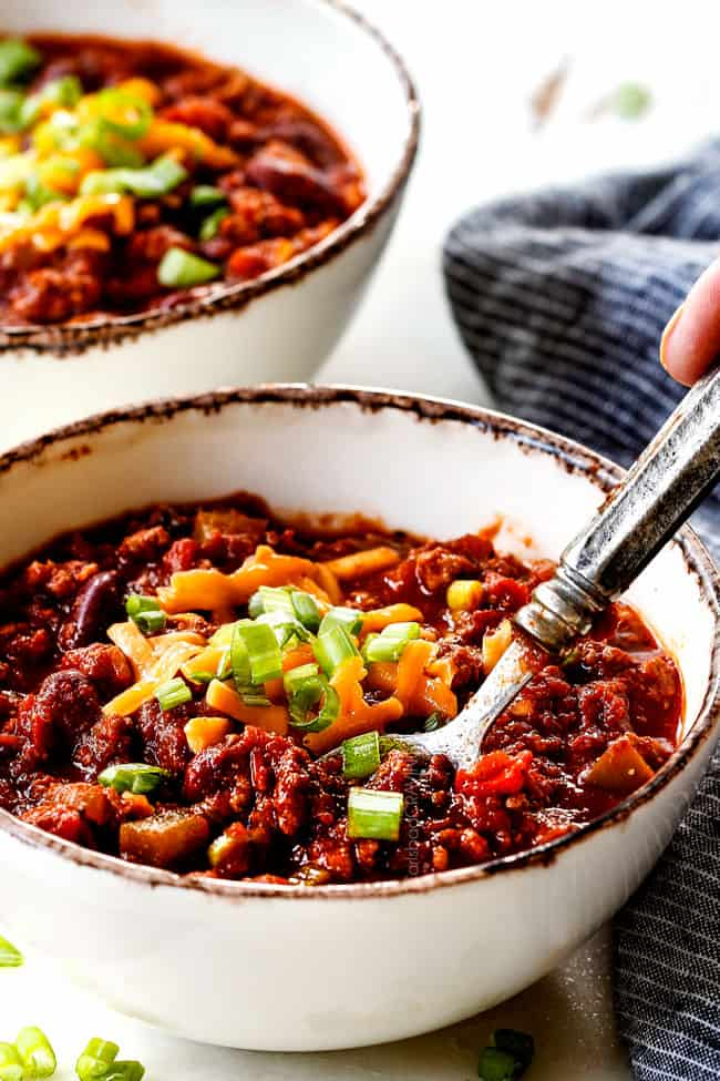 side view of a bowl of healthy turkey chili recipe