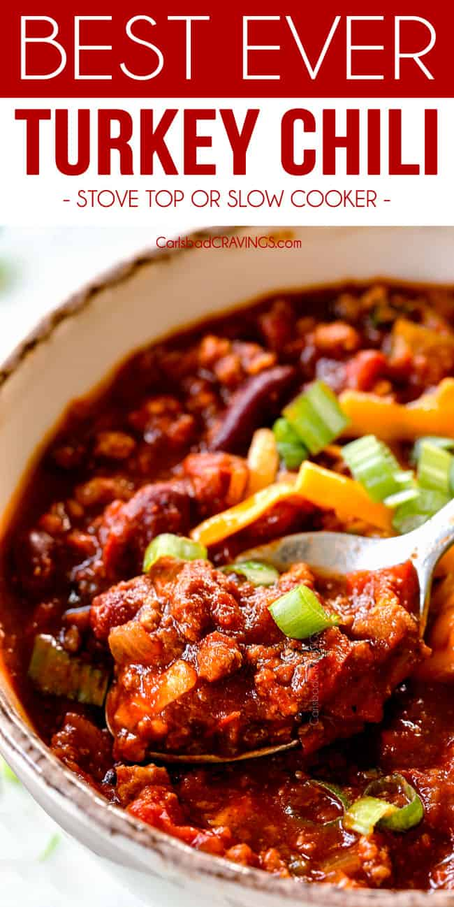 an up close spoonful of the best turkey chili