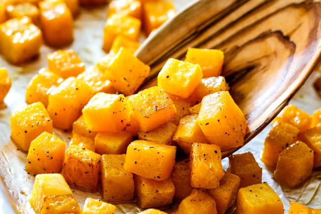 showing how to make healthy wild rice recipe by roasting butternut squash