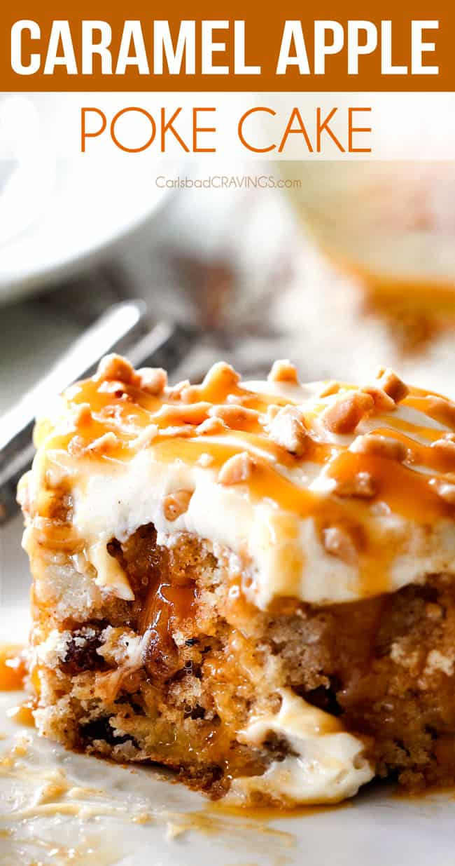 up close of caramel apple poke cake with a bit taken out of it