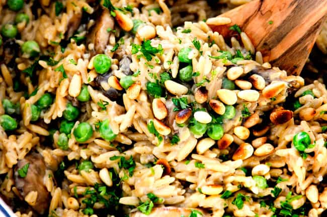 showing how to make orzo pasta recipe by stirring orzo in a pot