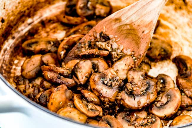 showing how to cook orzo pasta by cooking mushrooms in stock pot