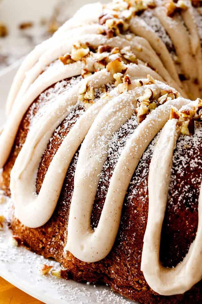 up close of eggnog frosting on best eggnog cake