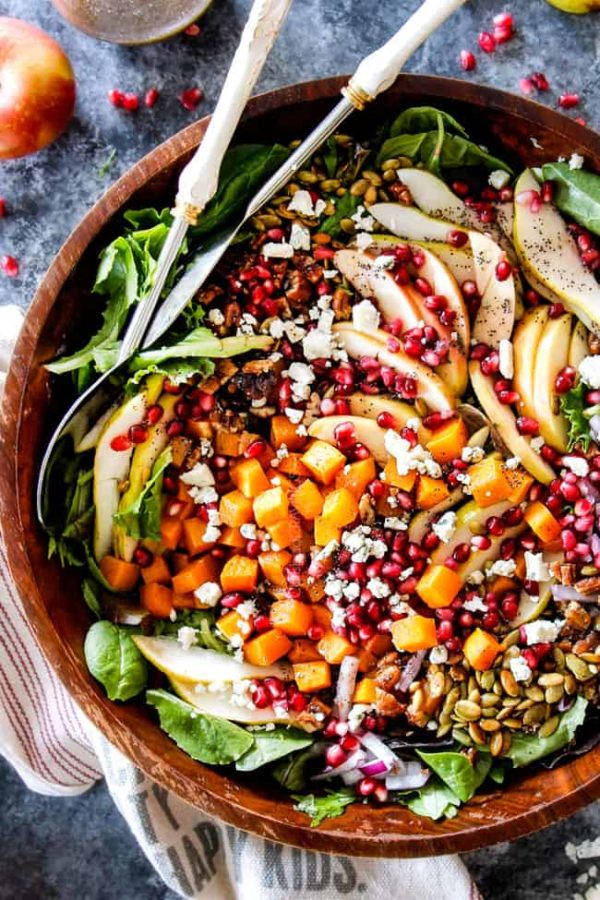 top view of fall salads with apples