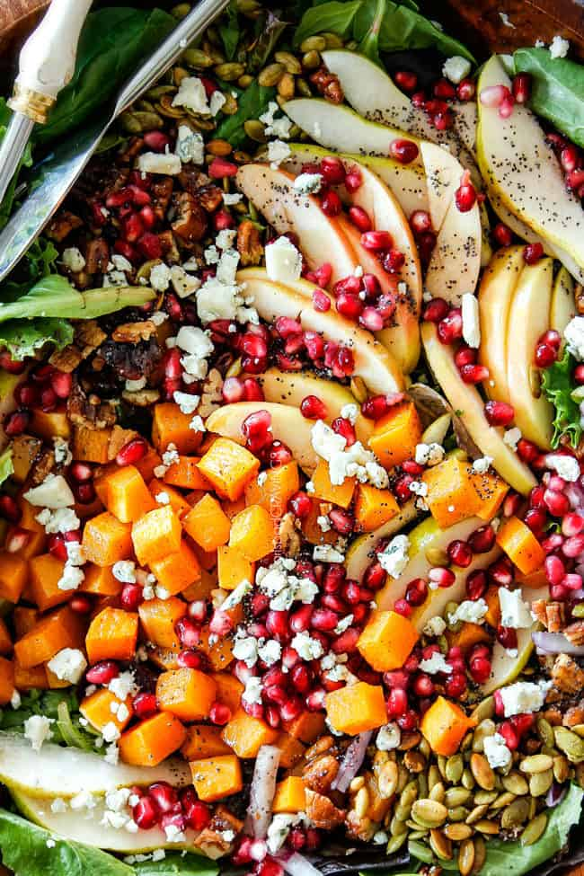 healthy fall salad with apples, pears, butternut squash, pomegranate seeds