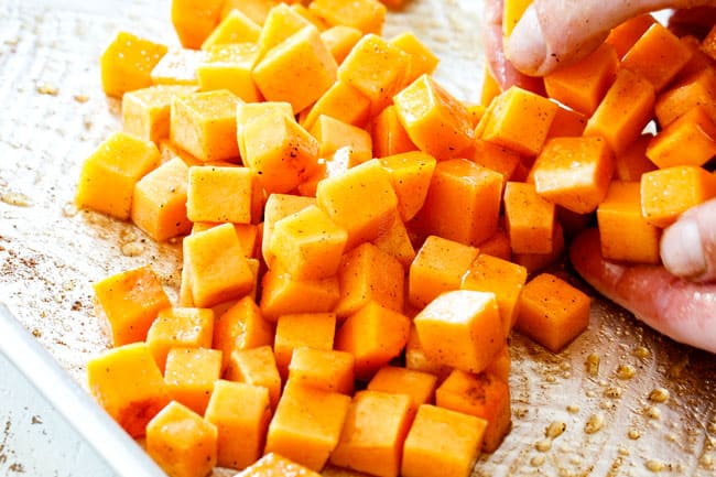 showing how to make fall salad by roasting butternut squash