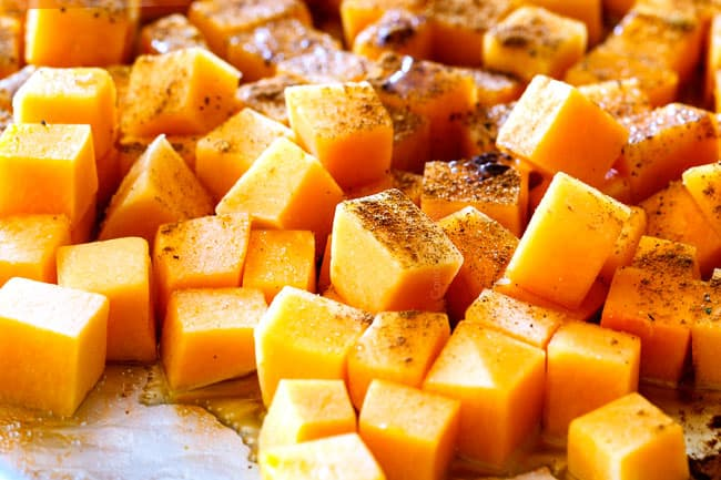 how to make fall salad by roasting butternut with cinnamon