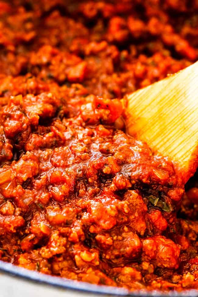 up close of homemade meat sauce for the best lasagna