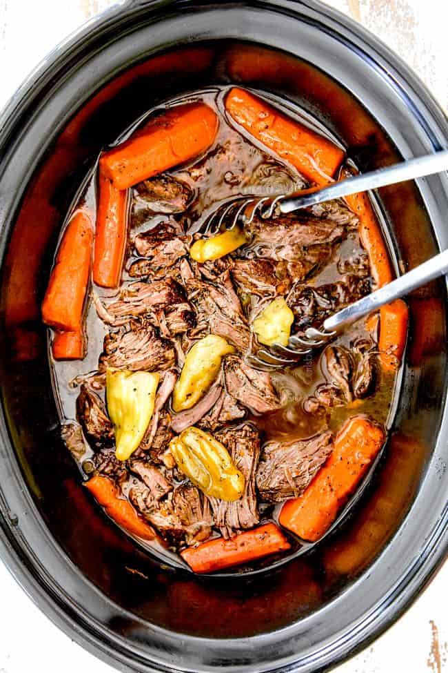 showing how to make Mississippi Pot Roast in crock pot with potataoes