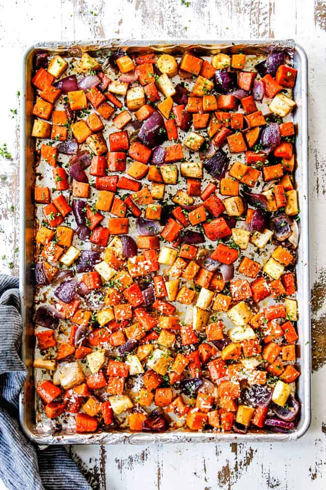 top view of a sheet pan of oven roasted vegetables
