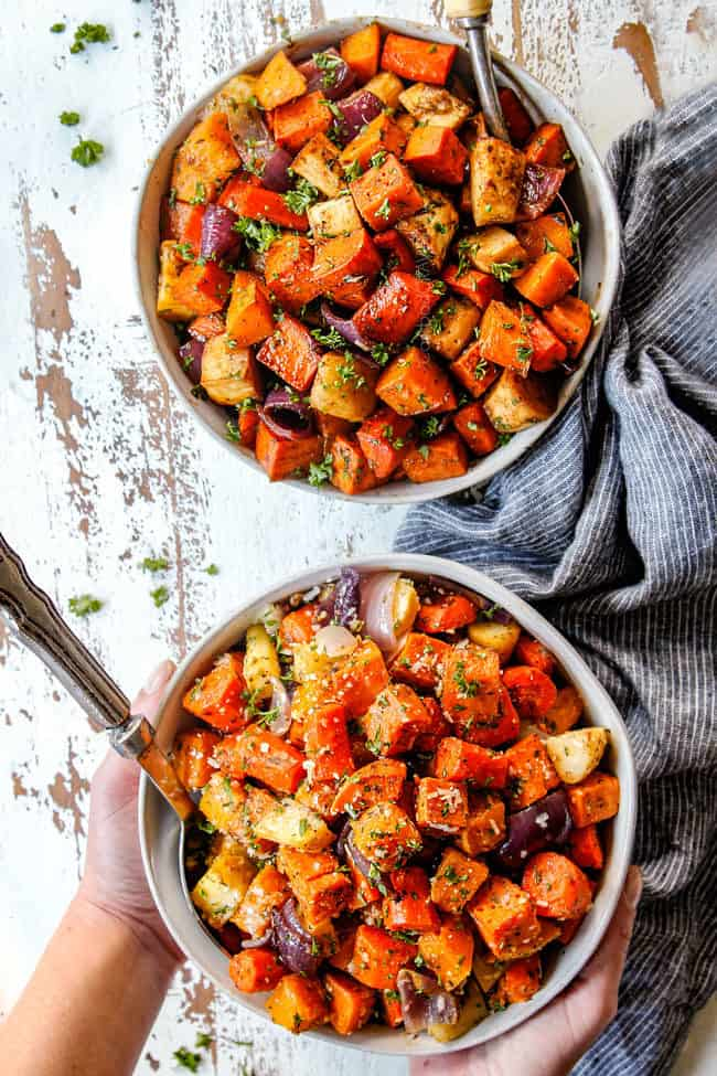 top view of two bowls of roasted root vegetables