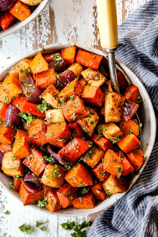 top view of balsamic roasted root vegetables