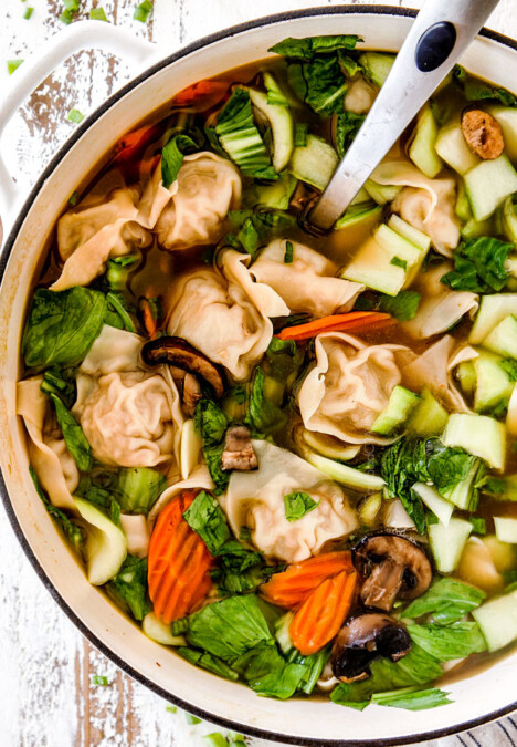 easy, authentic, homemade wonton soup recipe in a white soup pot