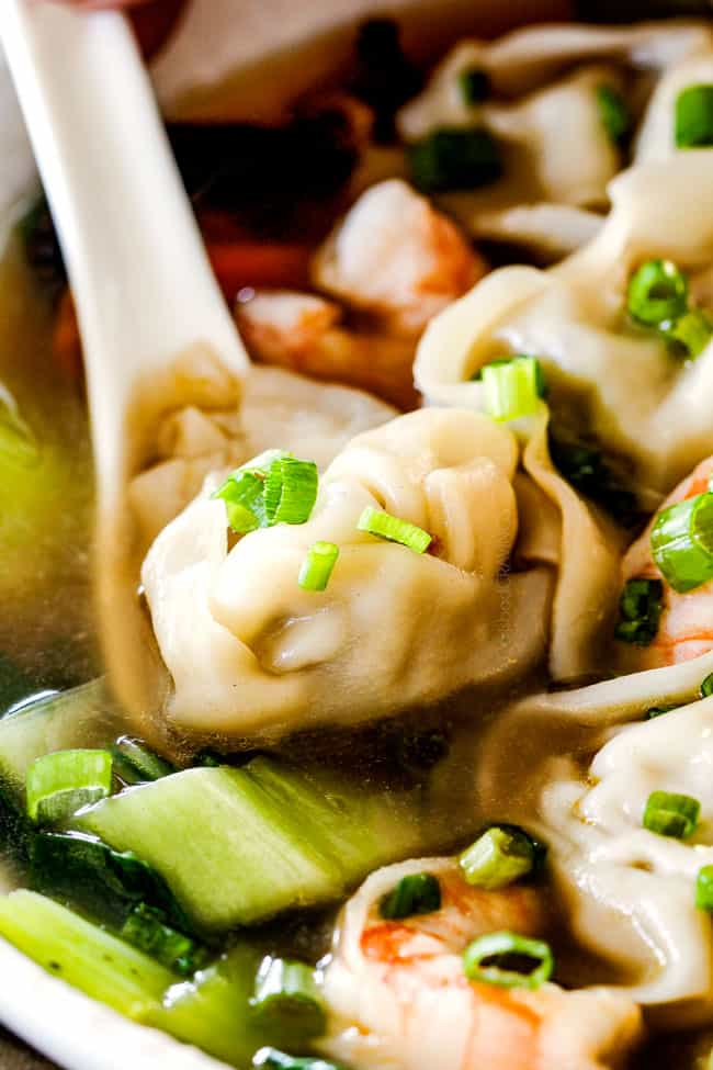 up close of authentic wonton soup recipe in a white bowl