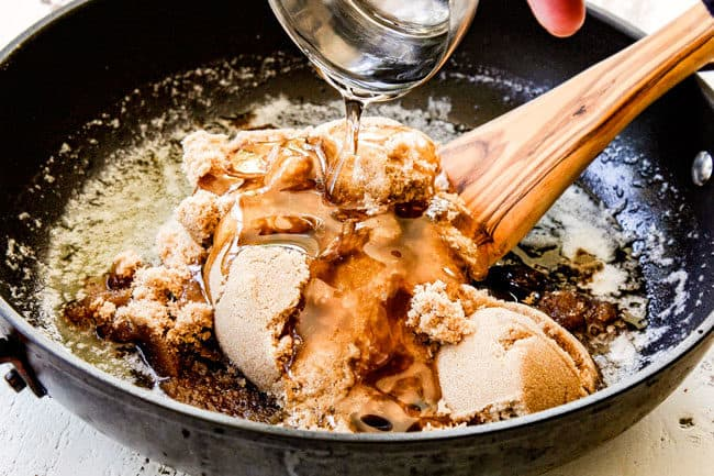 showing how to make caramel popcorn by adding brown sugar, butter, corn syrup to a saucepan