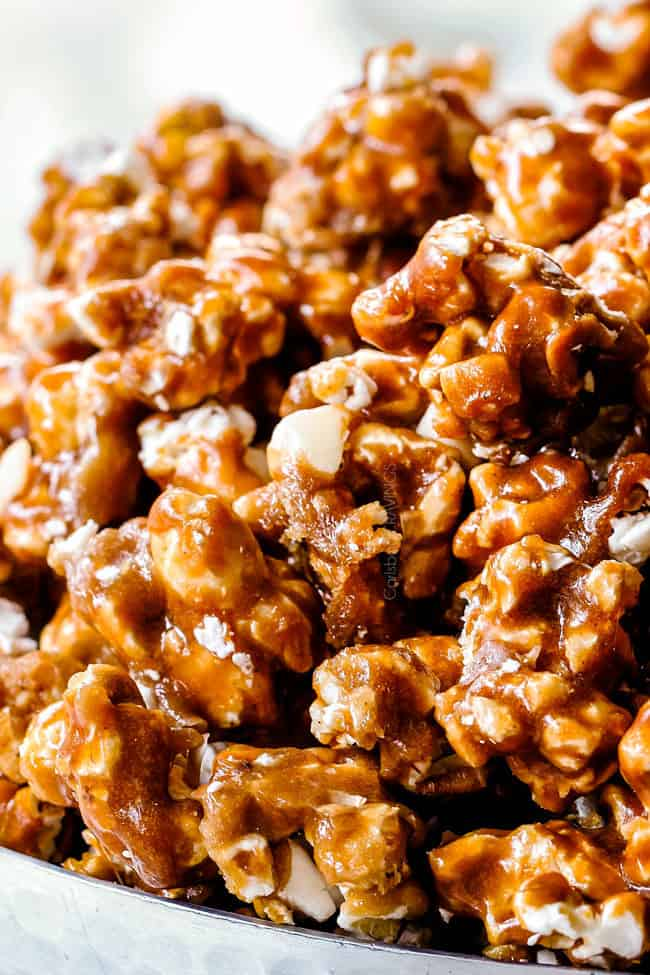 up close of soft caramel popcorn recipe