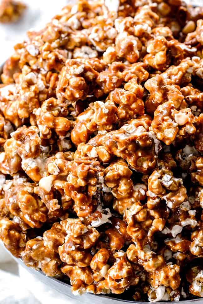 up close of baked caramel popcorn