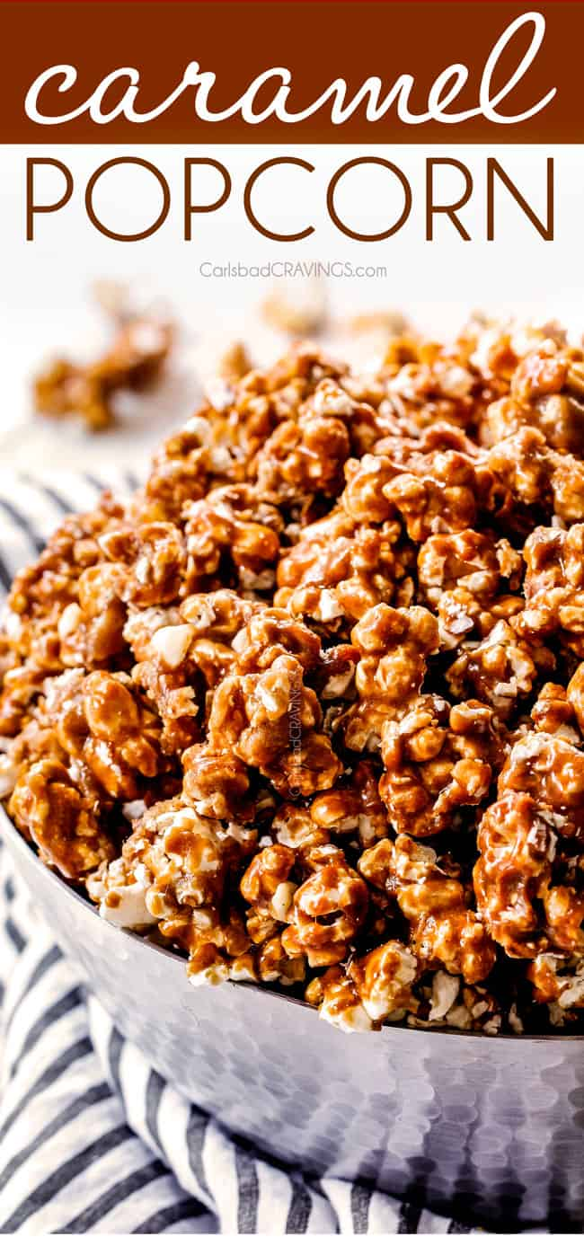 up close side view of crunchy caramel corn