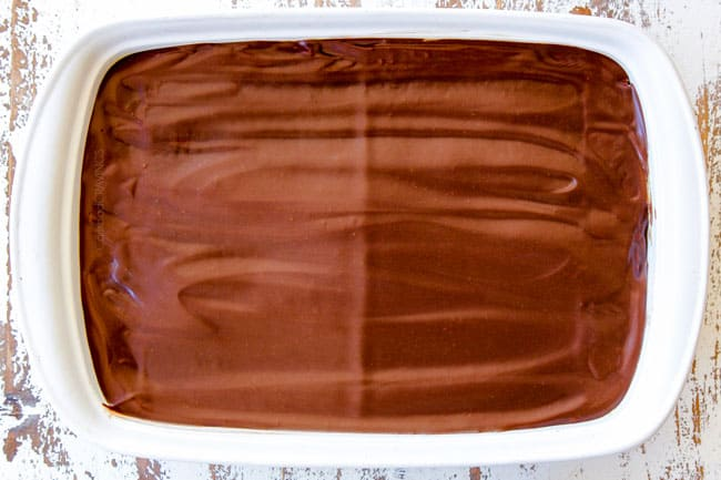 showing how to make no bake Chocolate Eclair Cake by refrigerating cake