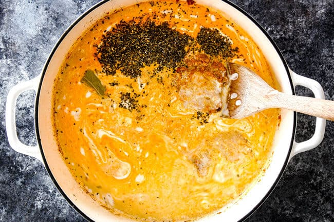 showing how to make laksa soup recipe by adding chicken, coconut milk, chicken broth, laksa paste to a large pot to simmer