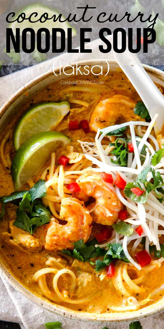 top view of a bowl of laksa soup with noodles, chicken and shrimp