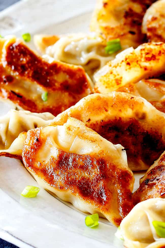 up close of a plate of easy potstickers
