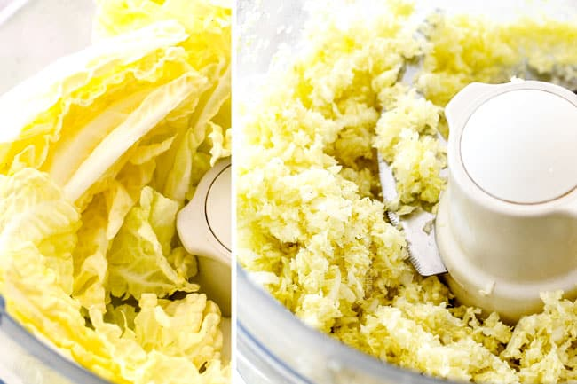 showing how to make potstickers by adding cabbage to food processor and processing until fine