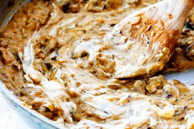 showing how to make Chicken Stroganoff by stirring our cream or Greek yogurt into Stroganoff Sauce