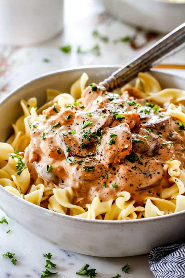 bowl of easy Chicken Stroganoff