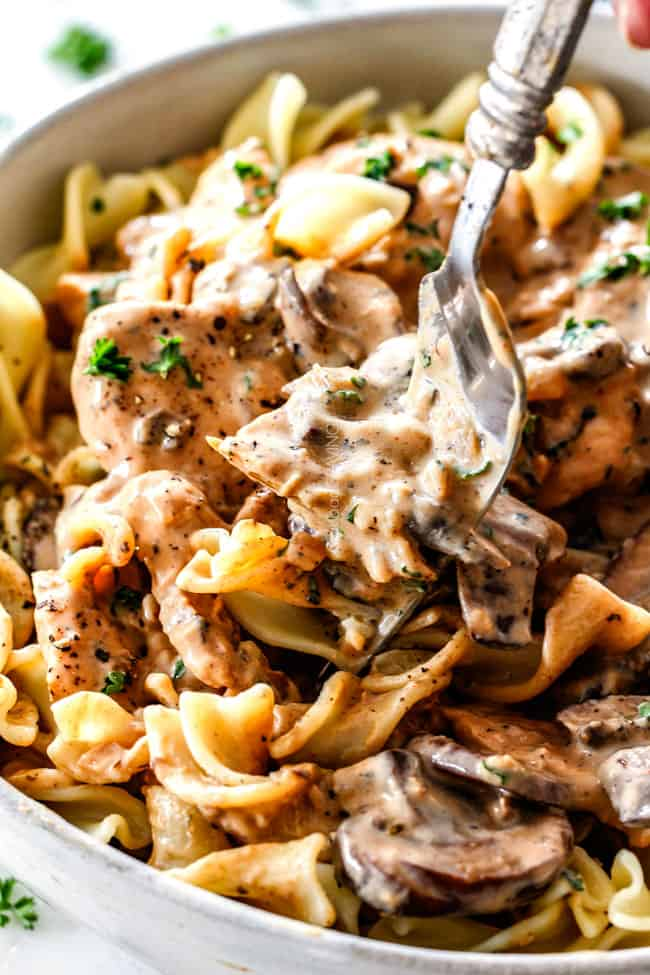 a fork eating Chicken Stroganoff from a white bowl with egg noodles