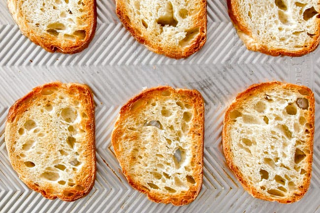 showing how to make French Onion Soup by toasting bread before adding the cheese