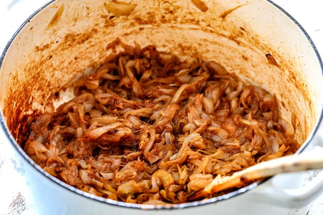 showing how to caramelize onions for French Onion Soup - photo of onions after 30 minutes