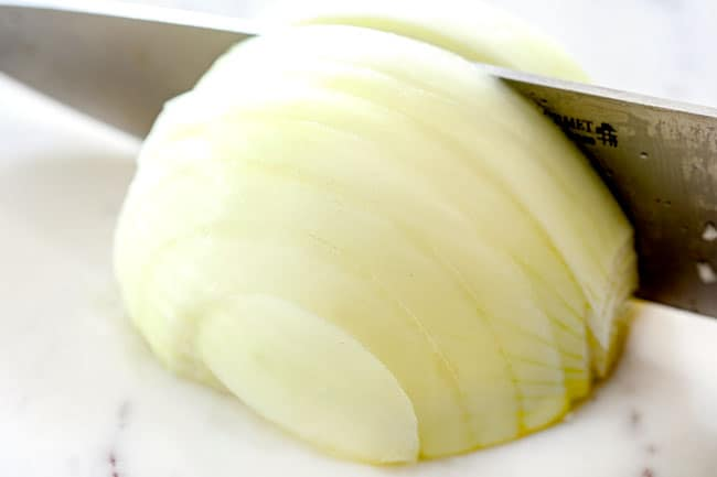 """showing how to make French Onion Soup by slicing onions into 1/4"""" thick slices"""