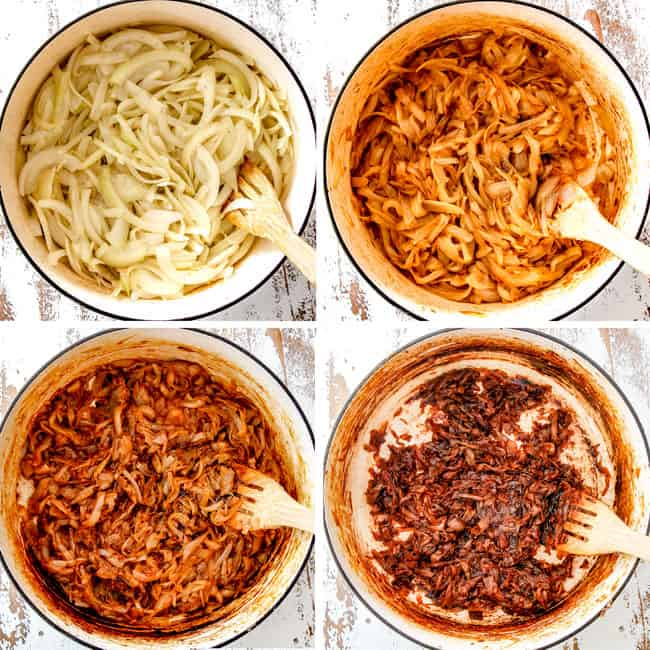 collage showing 4 stages of caramelized onions for French Onion Soup