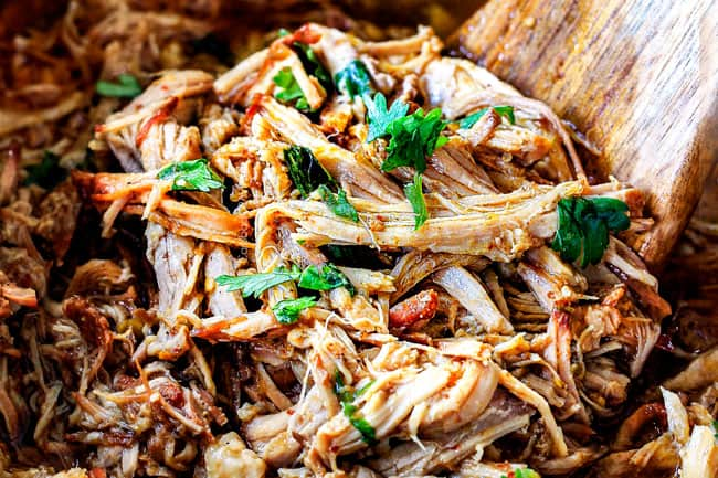 showing how to make pork fajitas by slow cooking pork with salsa verde in the crock pot