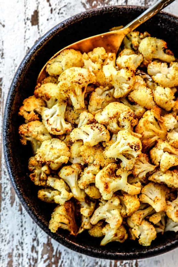 top view of spicy roasted cauliflower in a bowl
