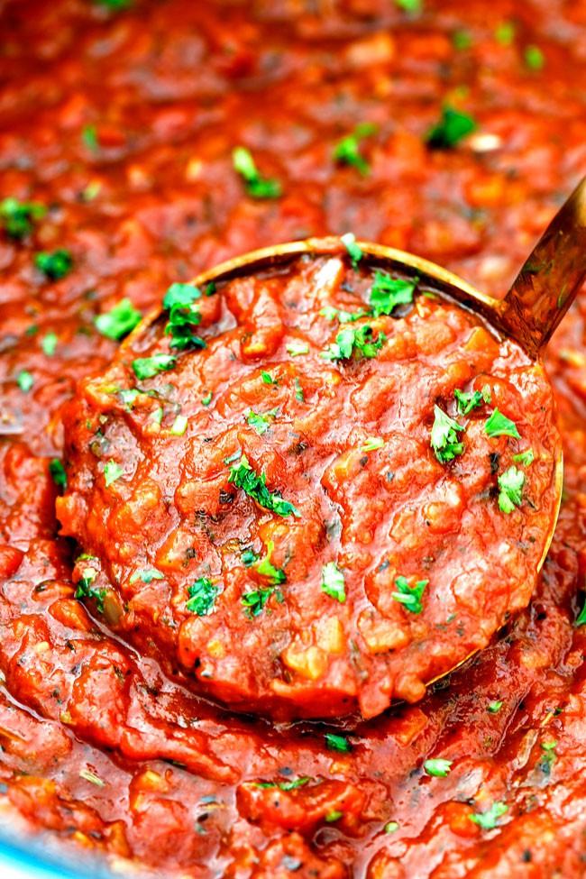 a spoonful of hearty marinara sauce