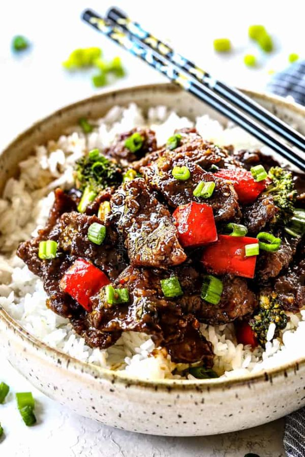 easy Mongolian Beef with Broccoli in a bowl with white rice