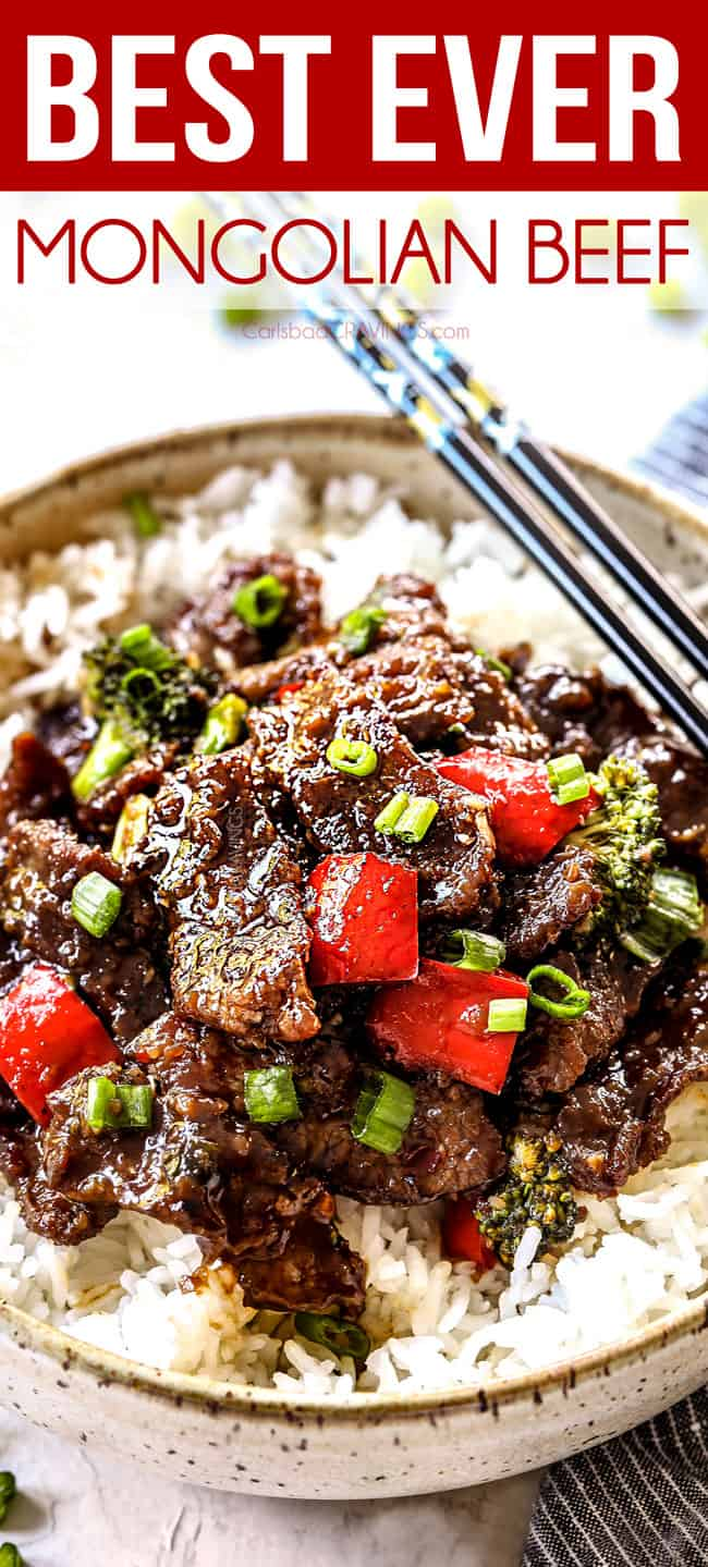 up close of Mongolian Beef and Broccoli with rice
